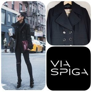 VIA SPIGA WOOL BLACK NOIR PEA COAT - SIZE 4